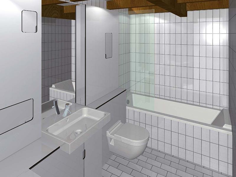 3d Modell: Einbau Badezimmer